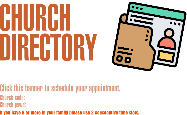 Church Directory Photoshoot - October 14-16 - Sign up here